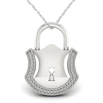 IGI Certified S925 Sterling Silver 0.1Ct TDW Diamond Lock Necklace