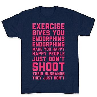 Exercise gives you endorphins navy t-shirt