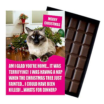 Siamese Cat Christmas Gifts Funny Xmas Presents for Cat Lovers Boxed Chocolate Greeting Card