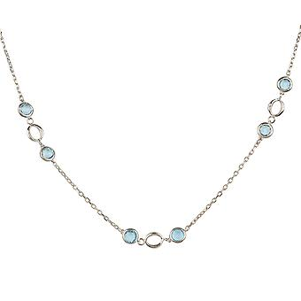 Lien Gemstone Necklace Silver Blue Topaz Wedding Bridesmaid 925 Chain Bead