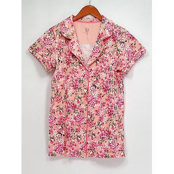 Isaac Mizrahi Live! Sleepshirt Printed Short Sleeve Button Down Pink