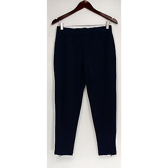 Isaac Mizrahi Live! Petite Pants Ponte Ankle w/Zipper Detail Blue A272916
