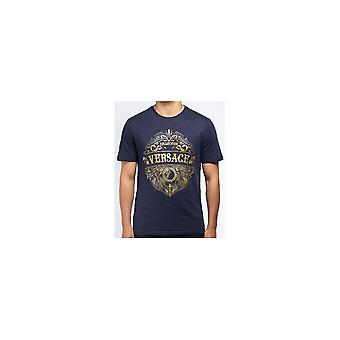 Maglietta Versace Collection Cotton Printed Logo Navy
