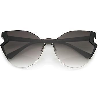 Womens Oversize Rimless Frame Open Top Bottom Cut Cat Eye Sunglasses 65mm