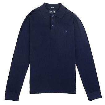 Armani Jeans AJ Eagle Logo Long Sleeve Polo Shirt Navy