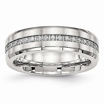 6.5mm Stainless Steel Brushed and Polished Cubic Zirconia Ring - Ring Size: 5 to 10