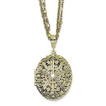 Fancy Lobster Closure Brass-tone Oval Locket 16 Inch Double Chain Necklace