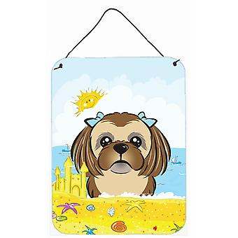 Chocolate Brown Shih Tzu Summer Beach Wall or Door Hanging Prints BB2117DS1216