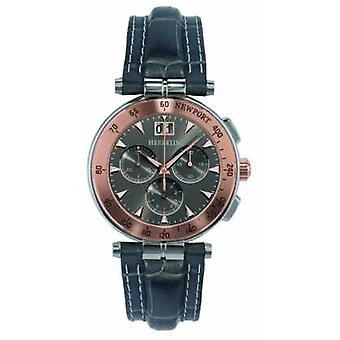 Michel Herbelin Mens Black Leather Strap Grey Dial 36657/TR22GR Watch