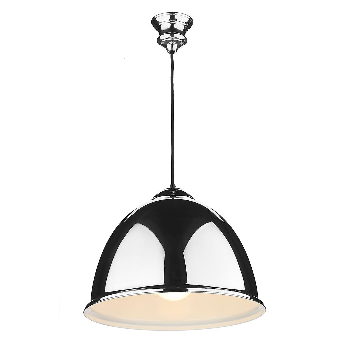 David Hunt EUS0122 Euston Single Light Polished Chrome Pendant With Black Cable