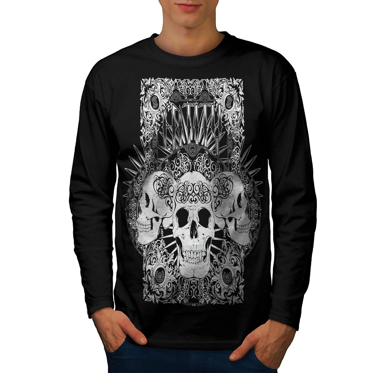 Entity Monster Skull Grave Yard Men Black Long Sleeve T-shirt | Wellcoda