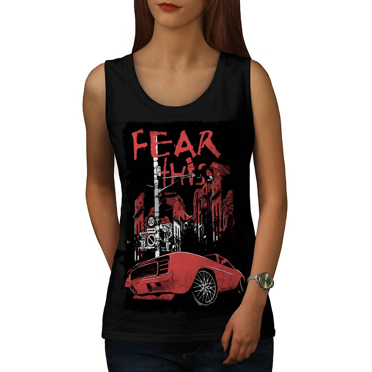 Fear This Muscle Car Street Light Women Black Tank Top | Wellcoda