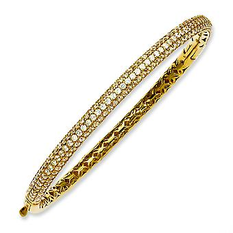 Giallo argento placcato con CZ incernierato Bangle Bracelet