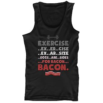 Men's Funny Black Cotton Tank Top – Exercise… Eggs Are Sides for Bacon