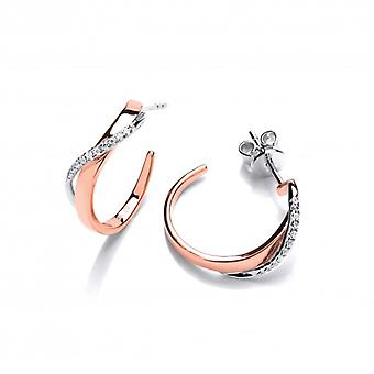 Cavendish French Rose Gold and Cubic Zirconia Twist Hoop Earrings