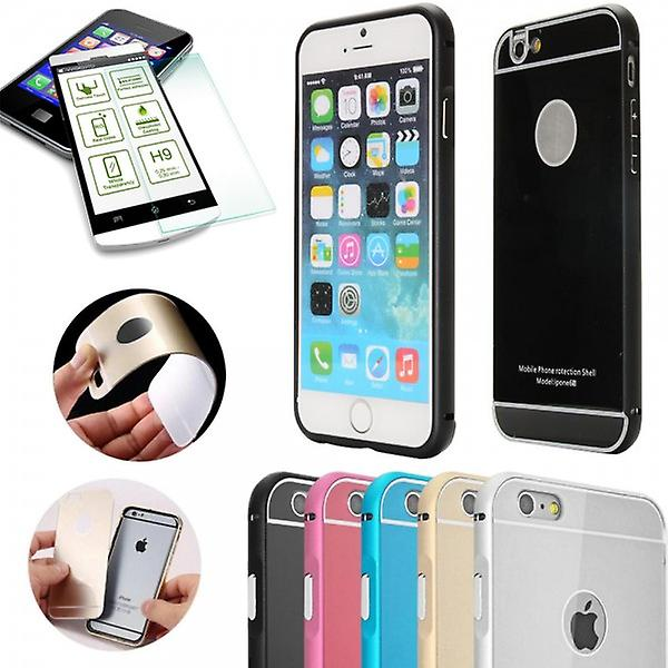 Aluminium bumper 2-piece black + 0.3 mm H9 bulletproof glass for Apple iPhone 6 plus