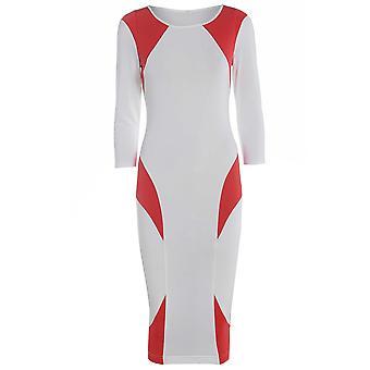 Rood op witte kleur blok Bodycon jurk DR725-12