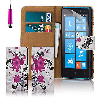 Design book PU leather case cover for Nokia Lumia 820 - Purple Rose