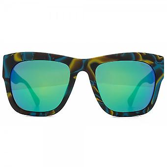 Police Bold Square Sunglasses In Brown Yellow Turquoise