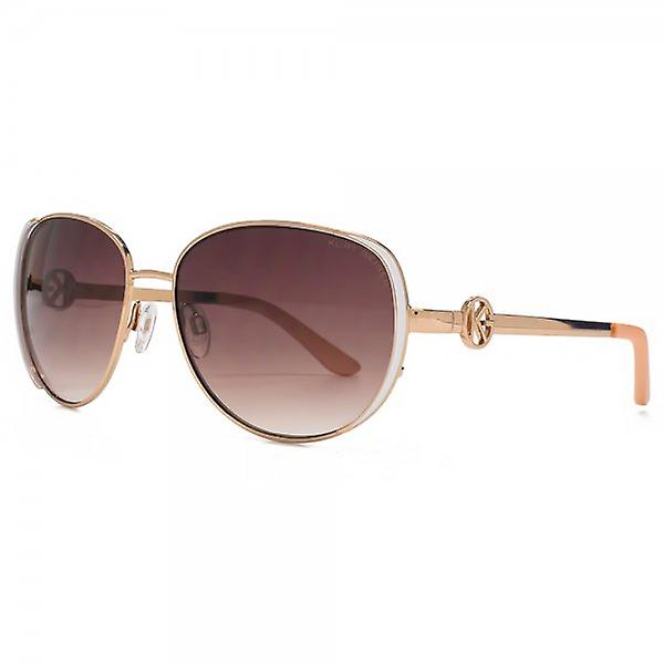 Kurt Geiger Beatrix Enamel Detail Metal Sunglasses In Shiny Rose Gold
