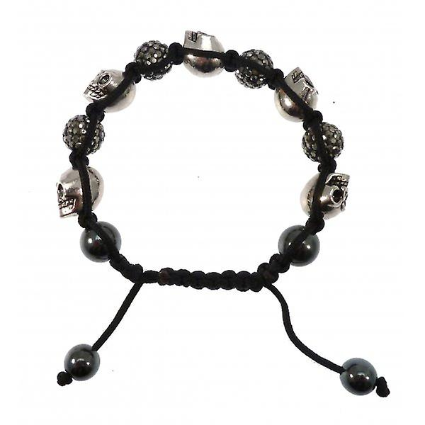 W.A.T Sparkling Black Crystal Macrame Glitterball Ball And Skull Bracelet
