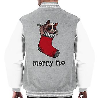 Merry No Stocking Christmas Cat Black Men's Varsity Jacket