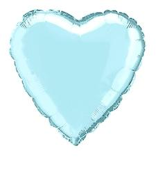 Foil Balloon Heart Solid Metallic Baby Blue