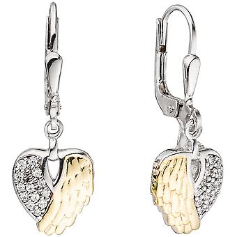 Heart jewelry boutons heart wing 925 Silver bicolor cubic zirconia earrings