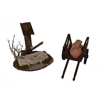 Stabiele Nativity instellen 2 PC's Nativity accessoires. Morgen land ezel karren fontein