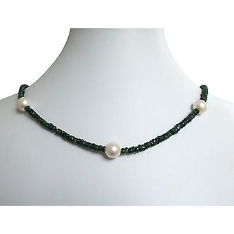 Emerald Necklace with beads Emerald and 9 mm Pearl Necklace gold plated clasp