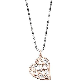 Heart 925 Sterling Silver Gold gold plated pendant bicolor heart pendant