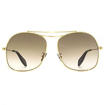 Alexander McQueen Edge Square Pilot Sunglasses In Gold Brown