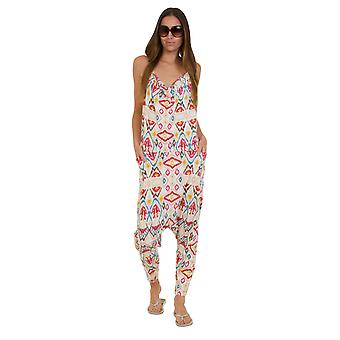 Jersey Jumpsuit - Aztec White Drop Crotch Lightweight Stretch Relaxed Fit Playsu