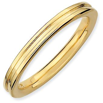 Sterling Silver Polished Patterned Stackable Expressions Gold-Flashed Grooved Ring - Ring Size: 5 to 10