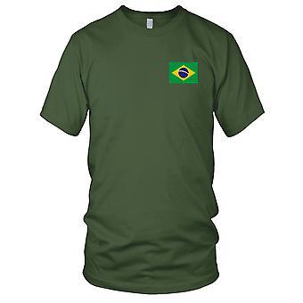 Brazil Brazillian Country National Flag - Embroidered Logo - 100% Cotton T-Shirt Mens T Shirt