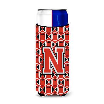 Letter N Football Scarlet and Grey Ultra Beverage Insulators for slim cans
