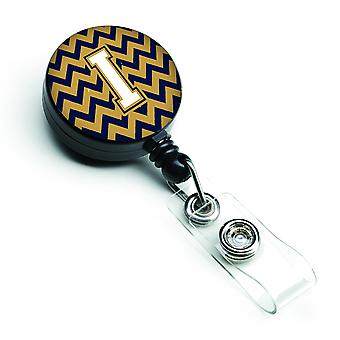 Letter I Chevron Navy Blue and Gold Retractable Badge Reel