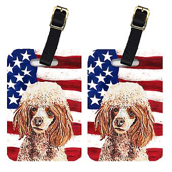 Pair of Red Miniature Poodle with American Flag USA Luggage Tags