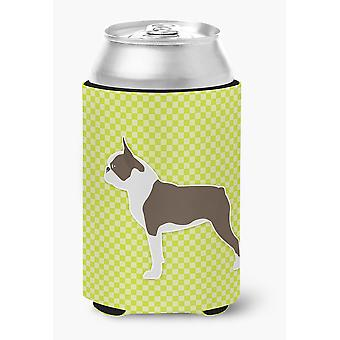 Boston Terrier Checkerboard Green Can or Bottle Hugger