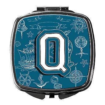 Brevet Q havet kruseduller første alfabetet kompakt speil