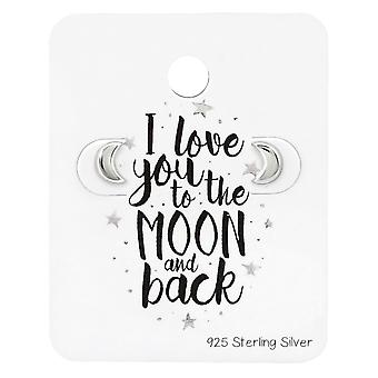 Moon Ear Studs On Lovers Cards - 925 Sterling Silver Sets - W34121x
