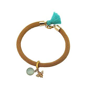 Gemshine - ladies - bracelet - 925 Silver - gold plated - gemstone - Aqua chalcedony - BEE - bee - Green - Brown