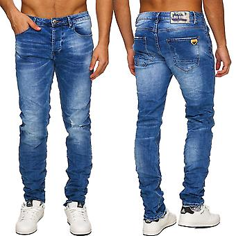 Men's Used blue Jeans pants destroyed slim denim cut torn out ripped new