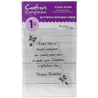 Crafter's Companion Stamps by Chloe Clear Stamps-Butterfly Birthday Verse CCSTC-BBV