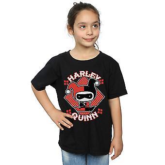 DC Comics meninas Chibi Harley Quinn Badge t-shirt