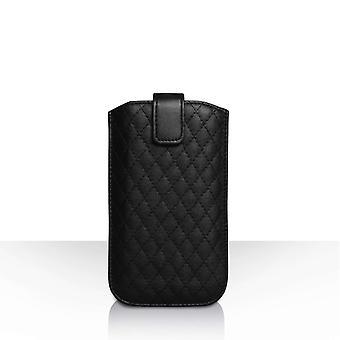 Diamant mønster PU læder Auto tilbagevenden trække fanen pose (S) - sort