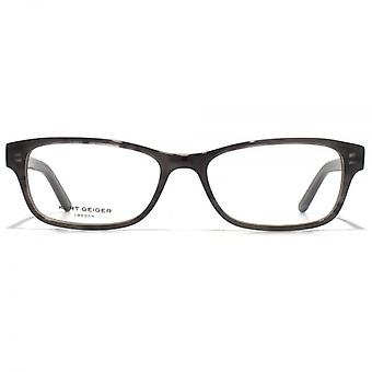 Kurt Geiger Sienna Petite Rectangular Acetate Glasses In Grey Horn With Green Interior