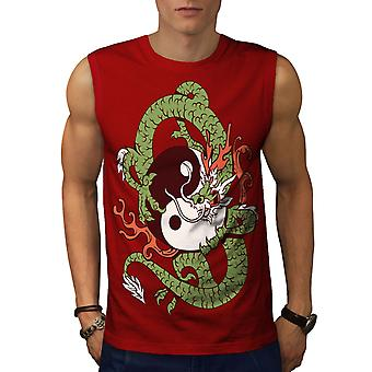 Dragon Yin Yang konst män RedSleeveless T-shirt | Wellcoda