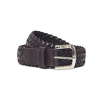 The Idle Man Leather Plait Belt Brown