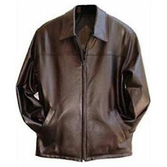 Bruin echt leder Mens Leather Jacket